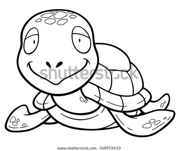 Vector Illustration Cartoon Turtle Coloring Book Stock