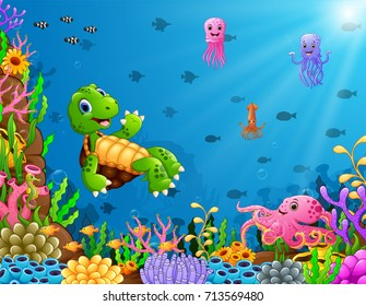 Vector illustration of Cartoon turtle and octopus underwater