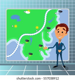 Vector illustration of cartoon tv ahchorman with weather temperature sheme