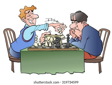 Vector illustration cartoon of two chess players