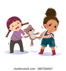 Vector illustration cartoon of two little girls fighting over a teddy bear. The conflict between children.