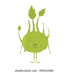 Vector illustration of cartoon vegetable. Funny character face isolated on white background. Hand drawn cute kohlrabi.