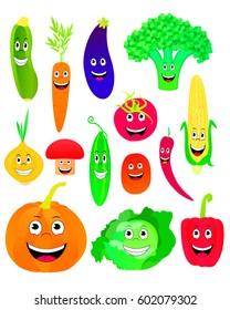 Vector illustration of cartoon vegetables