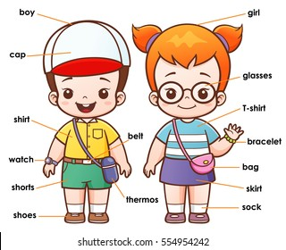 Vector illustration of Cartoon Vocabulary clothing