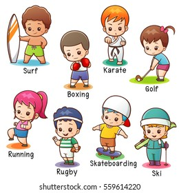 Vector illustration of Cartoon Vocabulary Sport character