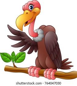 Vector illustration of Cartoon Vulture on a tree branch