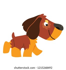 Vector illustration. Cartoon walking dog: spaniel. Isolated on white background.