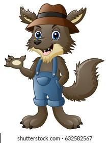 Vector Illustration of Cartoon werewolf waving