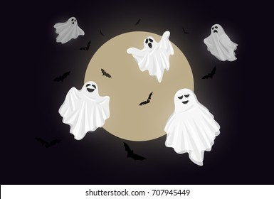Vector Illustration and cartoon : Whisper Ghost cover fabric white. Ghost character Costume evil or Character creepy funny cute. Party celebrate Halloween night holiday. With moon and bat.