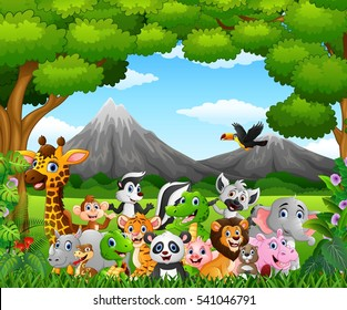 Vector illustration of Cartoon wild animal in the jungle