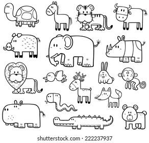 Vector Illustration Of Cartoon Wild Animals Set