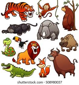 Vector illustration of Cartoon Wild Animals Character Set