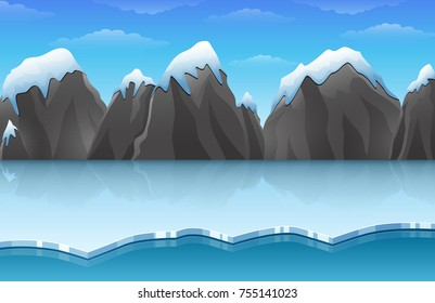 Vector illustration of Cartoon winter arctic ice landscape with iceberg and snow mountains rocks hills