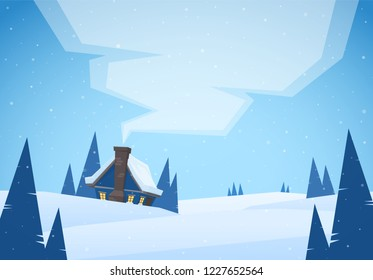 Vector illustration: Cartoon Winter christmas landscape with house and smoke from chimney.