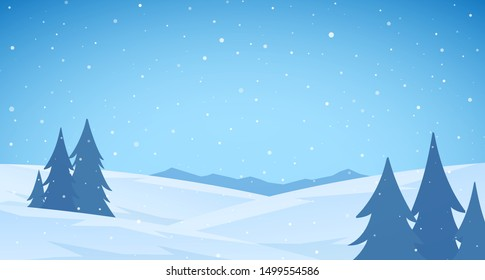 Vector illustration: Cartoon Winter snowy Mountains flat landscape with pines and hills. Blue Christmas background