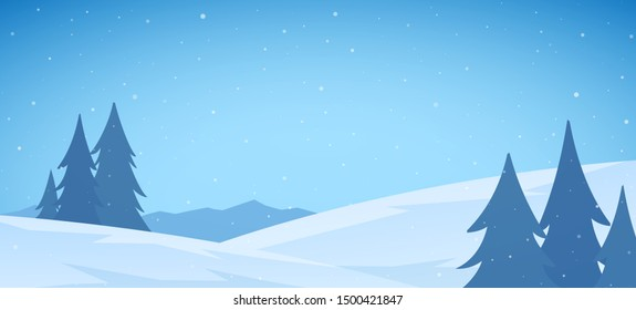 Vector illustration: Cartoon Winter snowy Mountains flat landscape with pines and hills. Christmas background