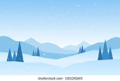 Vector illustration: Cartoon Winter snowy Mountains landscape with pines and hills.