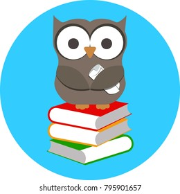 Vector illustration of cartoon wise owl and stack of books