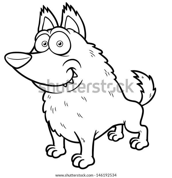 Vector Illustration Cartoon Wolf Coloring Book   Animals ...