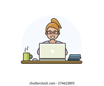 Vector illustration of cartoon woman character working on computer. Office manager icon
