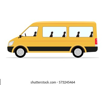 Vector illustration cartoon yellow minibus passengers. Isolated white background. Side view, flat style. Minivan for leisure travel.