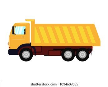 Vector illustration of a cartoon yellow truck. Isolated white background. Truck with a large body. Flat style, side view.