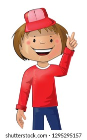 Vector illustration - cartoon young boy, index finger up