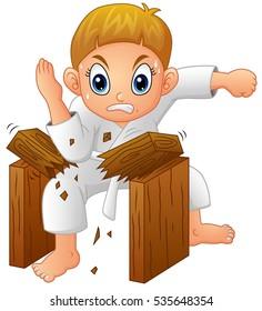 Vector illustration of Cartoon Young boy breaking board