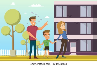 Vector Illustration Cartoon Young Happy Family. Image Family Standing near Apartment Building. Family has Acquired New Home in Residential Building. Man, Woman and Little Boy. Concept Happy People