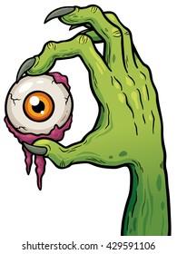 Vector illustration of Cartoon zombie hand holding eye