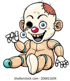 Vector illustration of Cartoon Zombie Toy