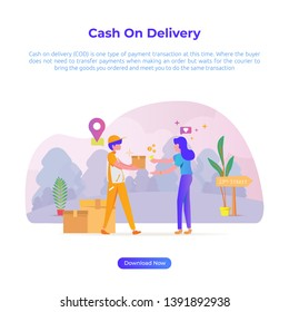 Vector Illustration of cash on delivery (COD) for e-commerce or online market store