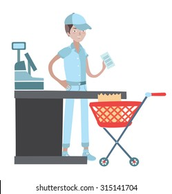 Vector illustration of cashier man in the cap, behind the counter, holding check in his arm and red grocery cart in front of him