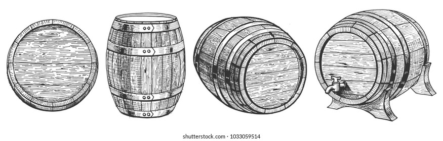 Vector illustration of cask or barrel from a different angle. Front, top, three quarters positions. Barrel on a stand with a tap. Hand drawn style.