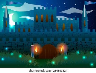 Vector illustration. Castle at night.