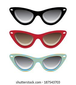 Vector illustration of cat black, red and blue eyeglasses