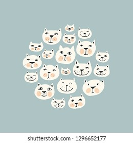 Vector illustration of cat faces. Cartoon hand drawn slyle for background, greeting card, poster.