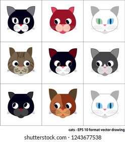 Vector illustration of cat figures. It can be used as wallpaper, gift or wrapping paper, notebook cover, background card for gift card, background or poster. Fabric, textile design.