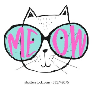 Vector illustration with cat in glasses. Cute typography black and white poster with lettering - meow. Hipster style print design