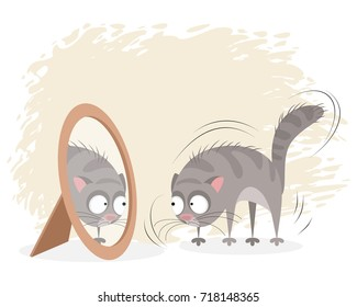 Vector illustration of a cat looking in the mirror
