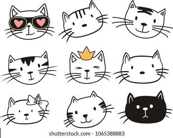Vector illustration of cat on white background