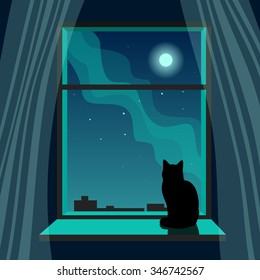 Vector illustration with cat on window and night sky with constellations, moon and Milky Way.