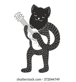 Vector illustration with cat playing guitar. Monochrome black and white art. Hand drawn style hipster print