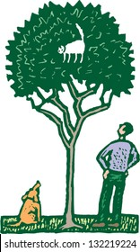 Vector illustration of a cat stuck in a tree
