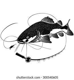 Vector illustration of catfish. Vector illustration can be used for creating logo and emblem for fishing clubs, prints, web and other crafts.