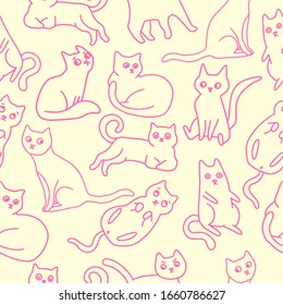 Vector illustration of cats in funny poses and emotions. Yellow-pink seamless pattern, great element for your design.