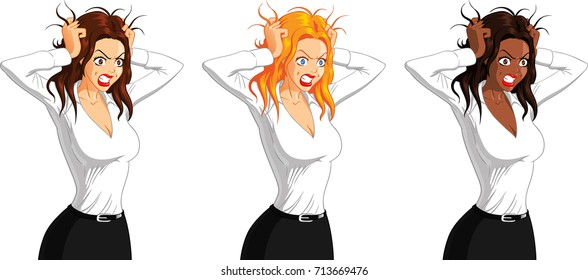 Vector illustration of Caucasian, blonde and black angry businesswoman on isolated background.