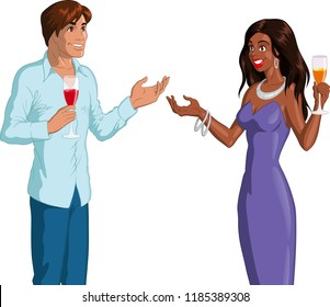 Vector illustration of a Caucasian man talking to a black woman at a party.