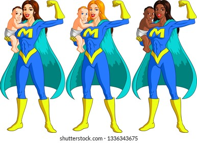 Vector illustration of Caucasian, Nordic and African super hero mother holding her baby and flexing her biceps muscle.