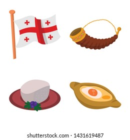 Vector illustration of Caucasus and traditions sign. Collection of Caucasus and attributes stock symbol for web.